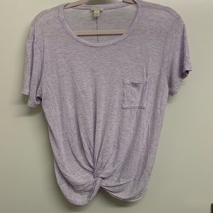 Hinge purple tee shirt with tie front detail Sz L